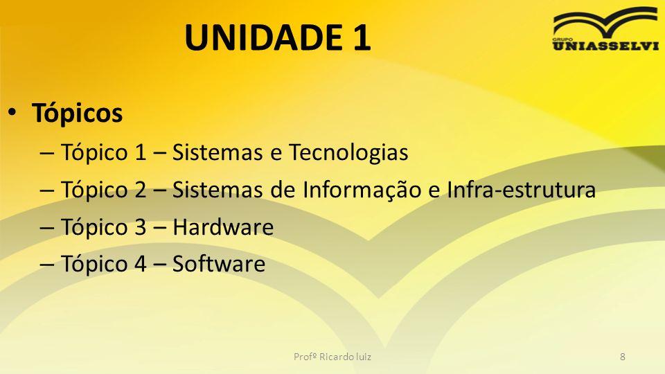 UNIDADE 1 Tópicos Tópico 1 – Sistemas e Tecnologias
