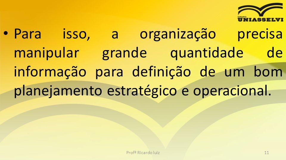 Para isso, a organização precisa manipular grande quantidade de informação para definição de um bom planejamento estratégico e operacional.