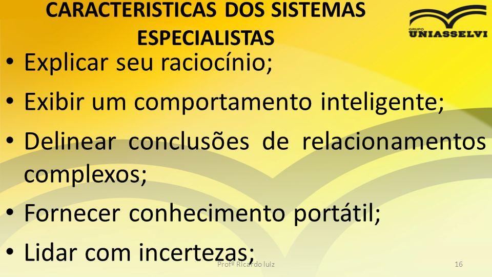 CARACTERISTICAS DOS SISTEMAS ESPECIALISTAS