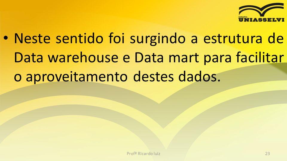 Neste sentido foi surgindo a estrutura de Data warehouse e Data mart para facilitar o aproveitamento destes dados.
