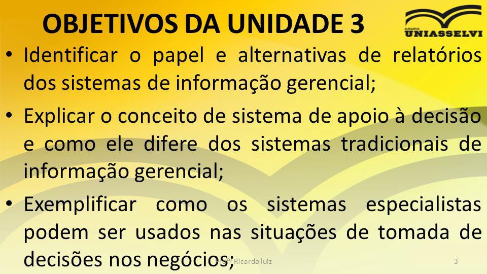 OBJETIVOS DA UNIDADE 3 Identificar o papel e alternativas de relatórios dos sistemas de informação gerencial;