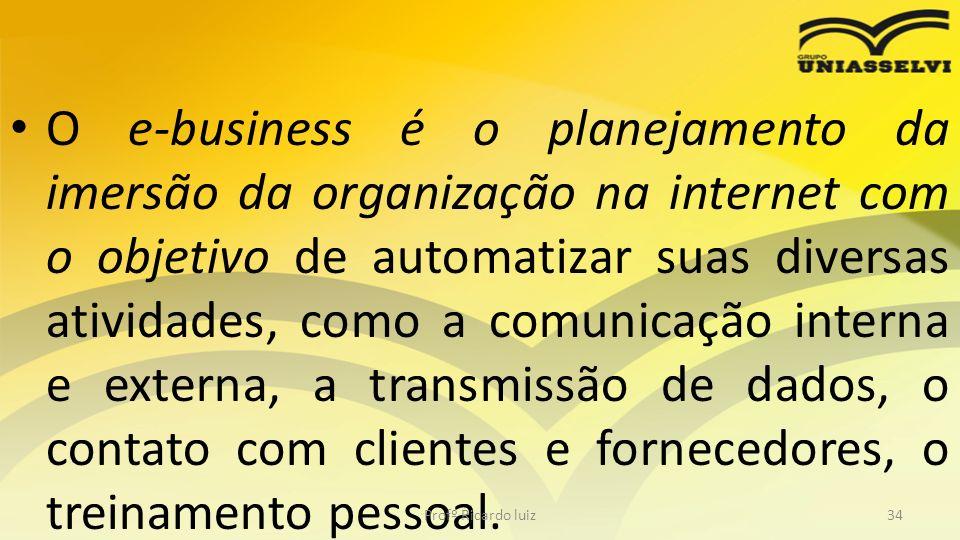 O e-business é o planejamento da imersão da organização na internet com o objetivo de automatizar suas diversas atividades, como a comunicação interna e externa, a transmissão de dados, o contato com clientes e fornecedores, o treinamento pessoal.