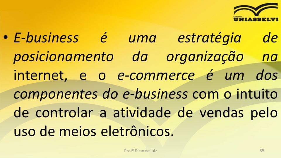 E-business é uma estratégia de posicionamento da organização na internet, e o e-commerce é um dos componentes do e-business com o intuito de controlar a atividade de vendas pelo uso de meios eletrônicos.