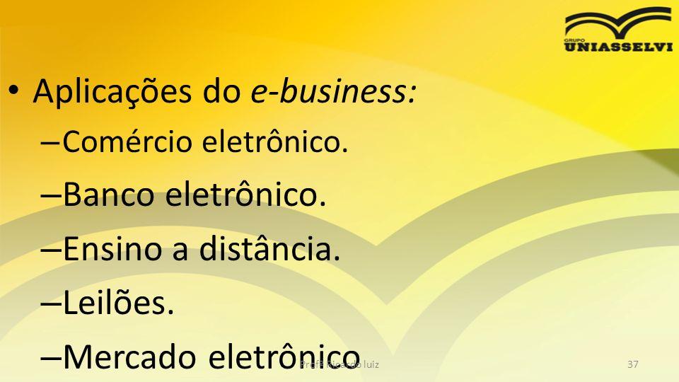 Aplicações do e-business: Banco eletrônico. Ensino a distância.