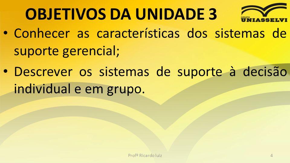 OBJETIVOS DA UNIDADE 3 Conhecer as características dos sistemas de suporte gerencial;