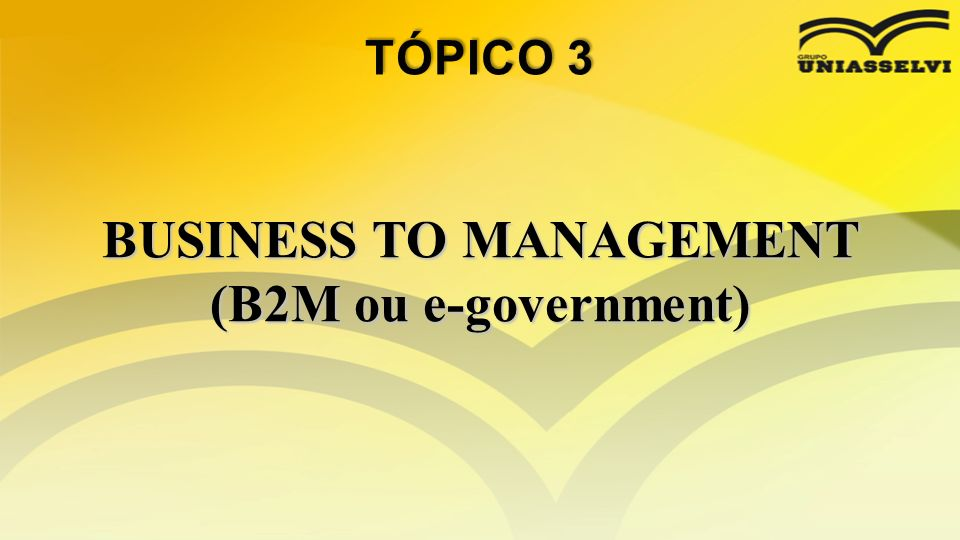 BUSINESS TO MANAGEMENT (B2M ou e-government)
