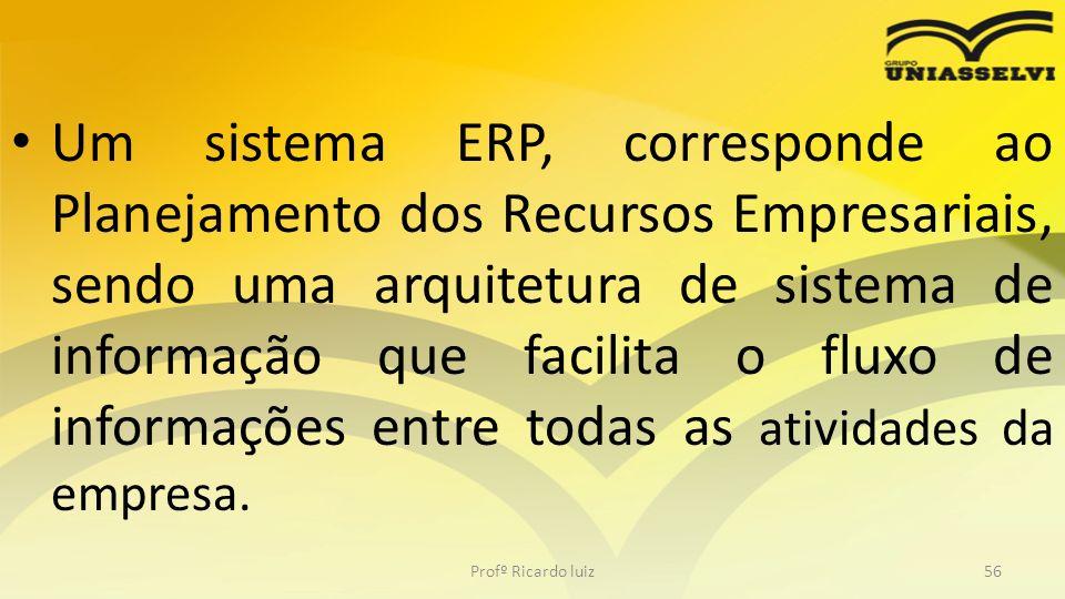 Um sistema ERP, corresponde ao Planejamento dos Recursos Empresariais, sendo uma arquitetura de sistema de informação que facilita o fluxo de informações entre todas as atividades da empresa.