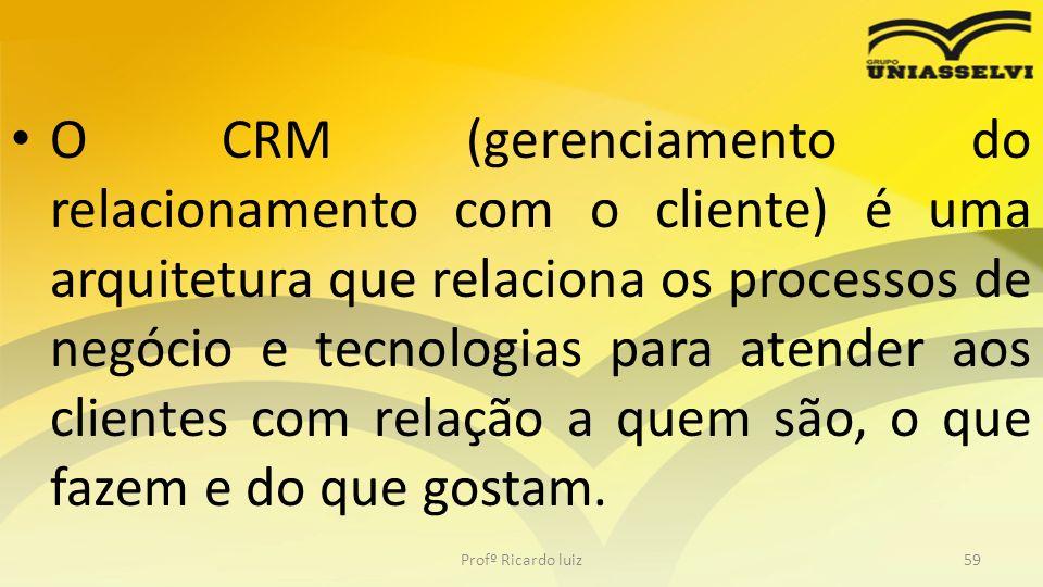 O CRM (gerenciamento do relacionamento com o cliente) é uma arquitetura que relaciona os processos de negócio e tecnologias para atender aos clientes com relação a quem são, o que fazem e do que gostam.