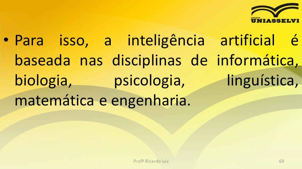 Para isso, a inteligência artificial é baseada nas disciplinas de informática, biologia, psicologia, linguística, matemática e engenharia.