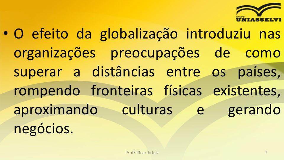 O efeito da globalização introduziu nas organizações preocupações de como superar a distâncias entre os países, rompendo fronteiras físicas existentes, aproximando culturas e gerando negócios.