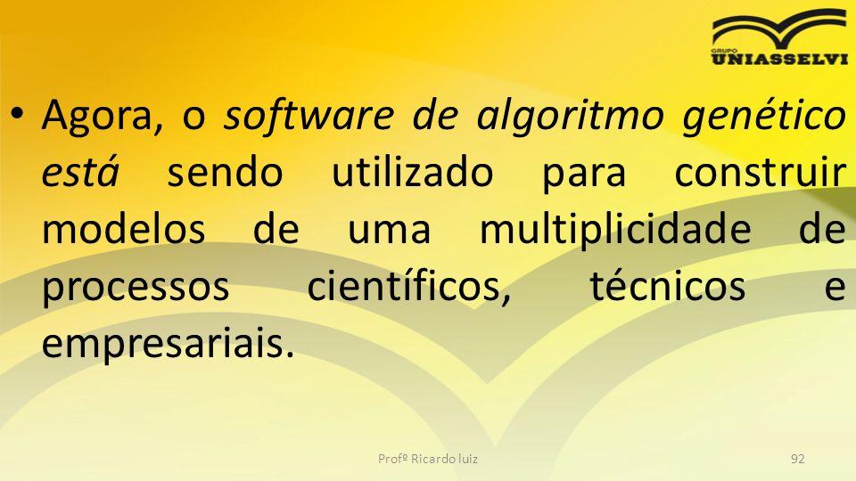 Agora, o software de algoritmo genético está sendo utilizado para construir modelos de uma multiplicidade de processos científicos, técnicos e empresariais.