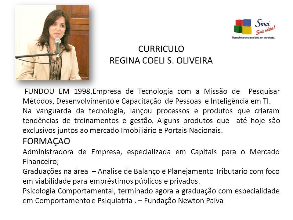 CURRICULO REGINA COELI S. OLIVEIRA