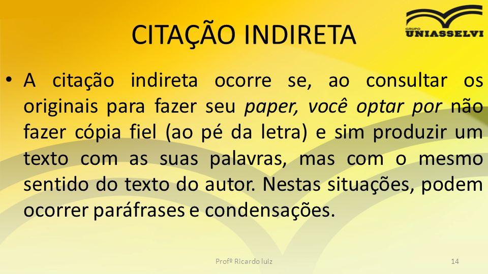 CITAÇÃO INDIRETA