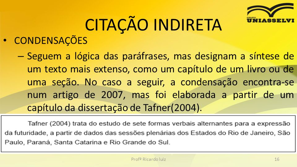 CITAÇÃO INDIRETA CONDENSAÇÕES
