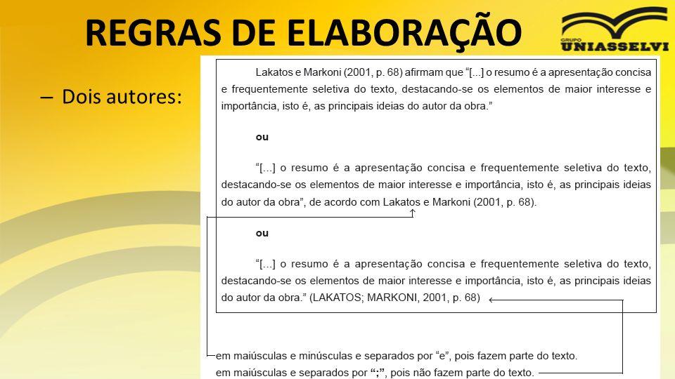 REGRAS DE ELABORAÇÃO Dois autores: Profº Ricardo luiz