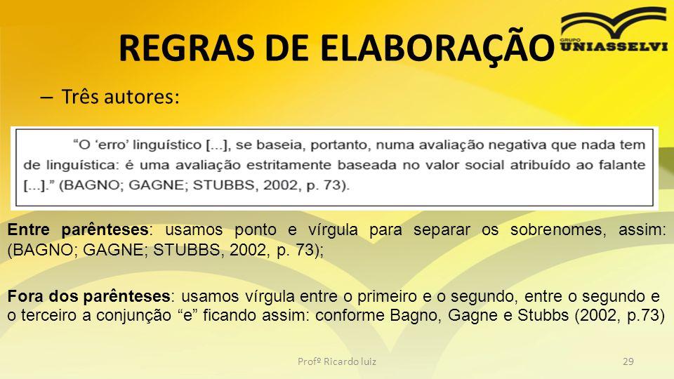 REGRAS DE ELABORAÇÃO Três autores: