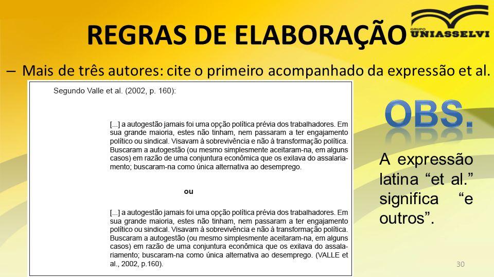 OBS. REGRAS DE ELABORAÇÃO