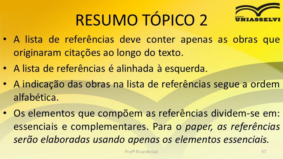 RESUMO TÓPICO 2 A lista de referências deve conter apenas as obras que originaram citações ao longo do texto.