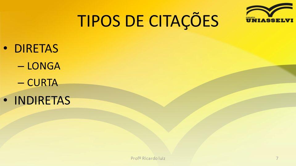 TIPOS DE CITAÇÕES DIRETAS LONGA CURTA INDIRETAS Profº Ricardo luiz
