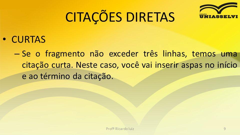 CITAÇÕES DIRETAS CURTAS