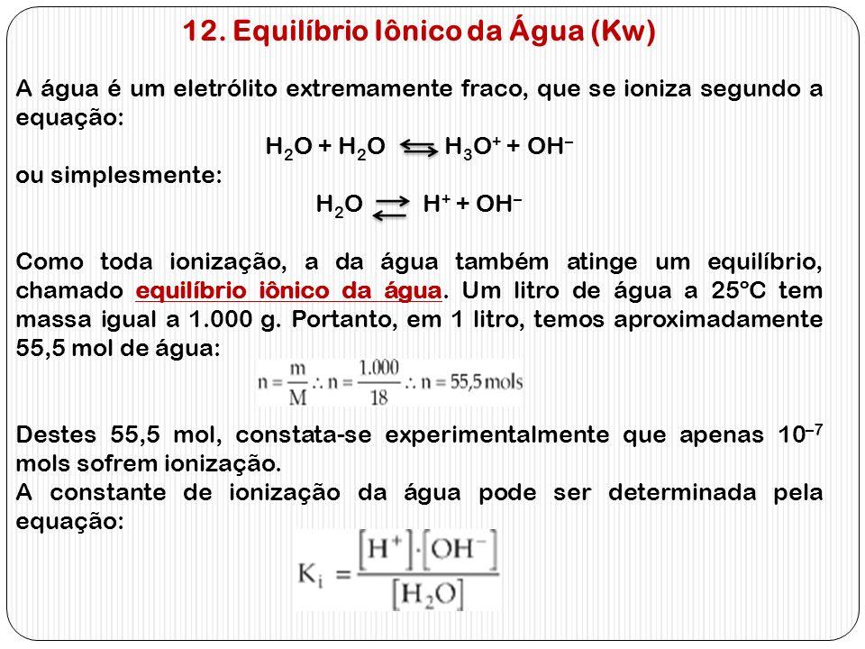 12. Equilíbrio Iônico da Água (Kw)
