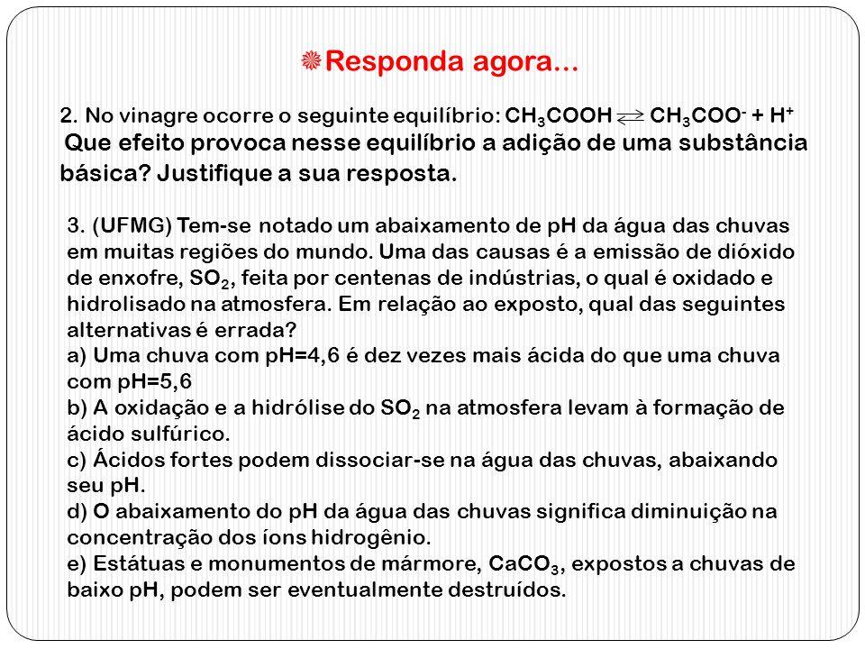 Responda agora... 2. No vinagre ocorre o seguinte equilíbrio: CH3COOH CH3COO- + H+