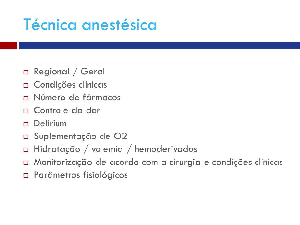 Técnica anestésica Regional / Geral Condições clínicas