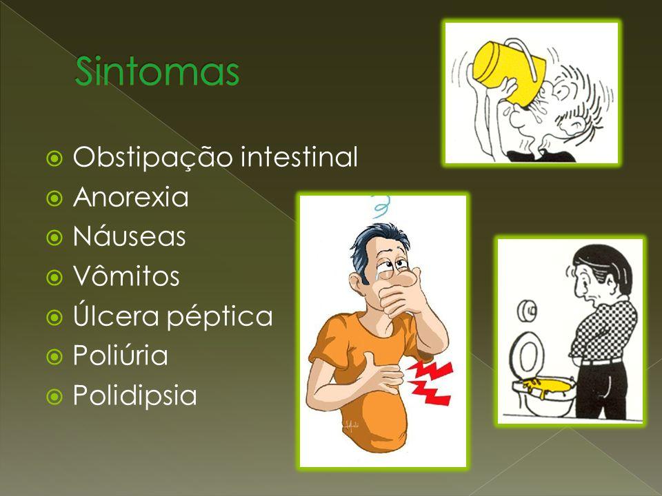 Sintomas Obstipação intestinal Anorexia Náuseas Vômitos Úlcera péptica
