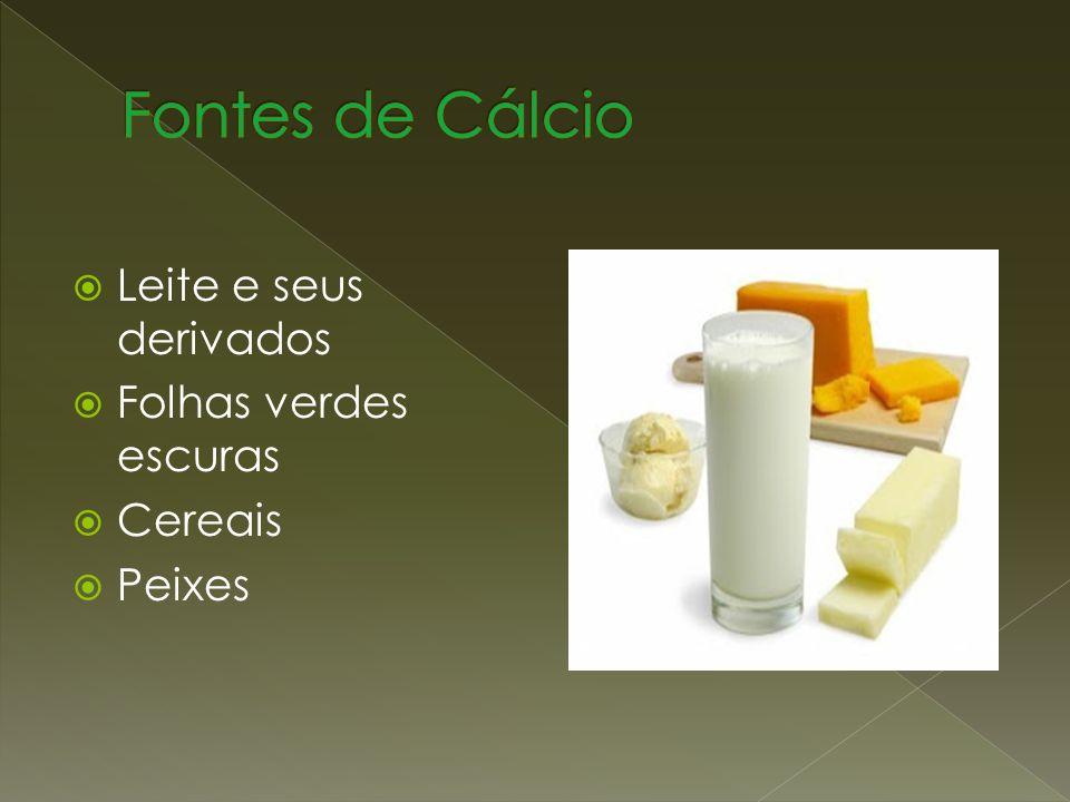 Fontes de Cálcio Leite e seus derivados Folhas verdes escuras Cereais