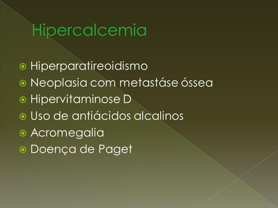 Hipercalcemia Hiperparatireoidismo Neoplasia com metastáse óssea