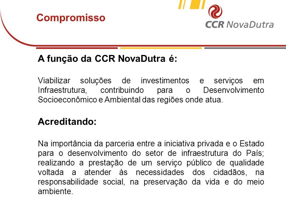 Compromisso A função da CCR NovaDutra é: Acreditando: