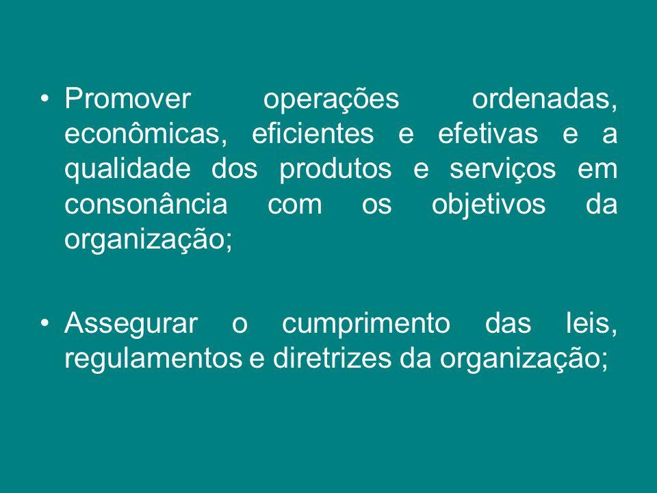 Promover operações ordenadas, econômicas, eficientes e efetivas e a qualidade dos produtos e serviços em consonância com os objetivos da organização;