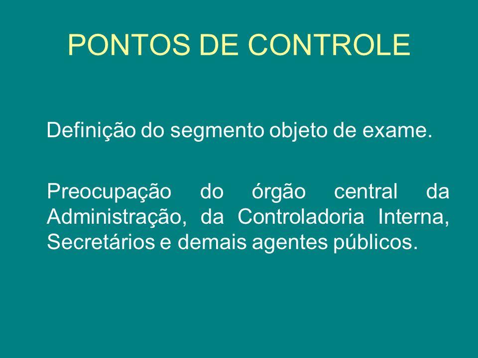 PONTOS DE CONTROLE Definição do segmento objeto de exame.
