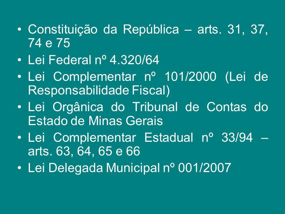 Constituição da República – arts. 31, 37, 74 e 75