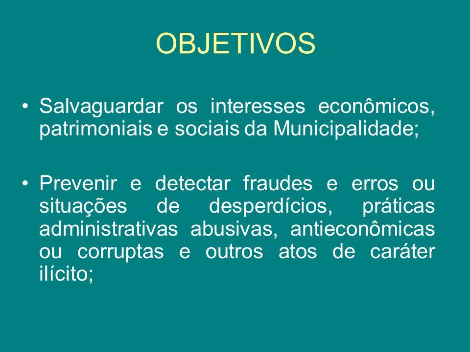 OBJETIVOS Salvaguardar os interesses econômicos, patrimoniais e sociais da Municipalidade;