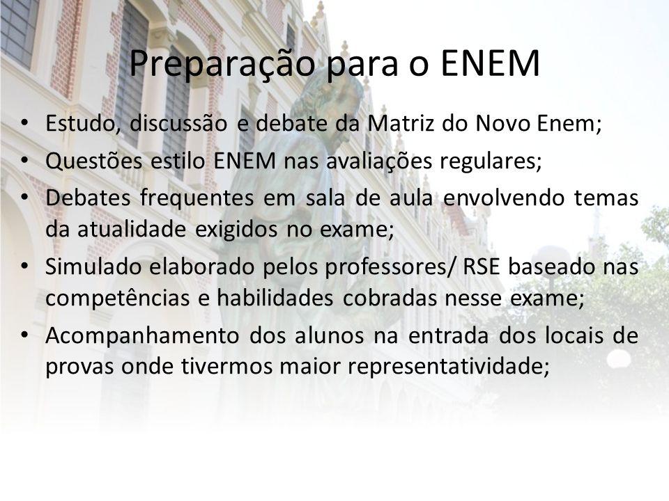 Preparação para o ENEM Estudo, discussão e debate da Matriz do Novo Enem; Questões estilo ENEM nas avaliações regulares;