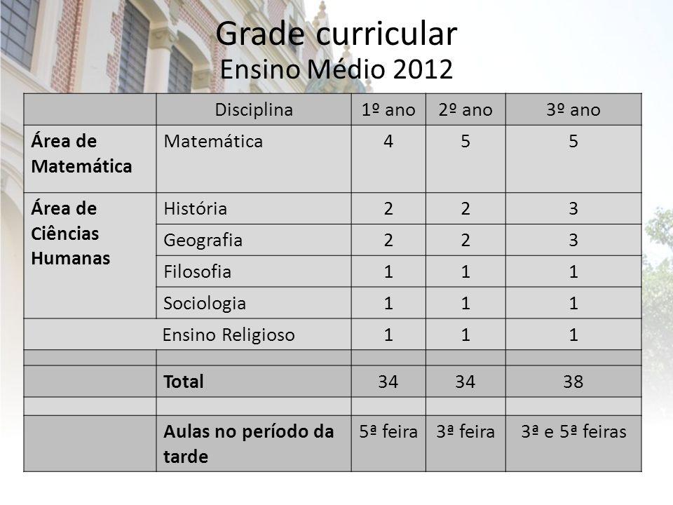 Grade curricular Ensino Médio 2012