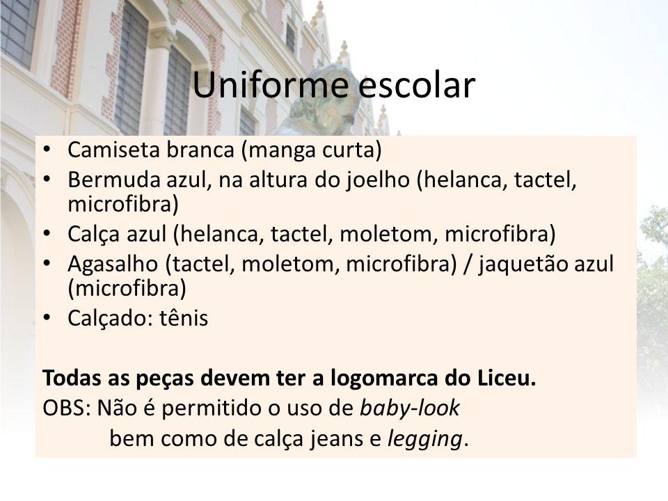 Uniforme escolar Camiseta branca (manga curta)