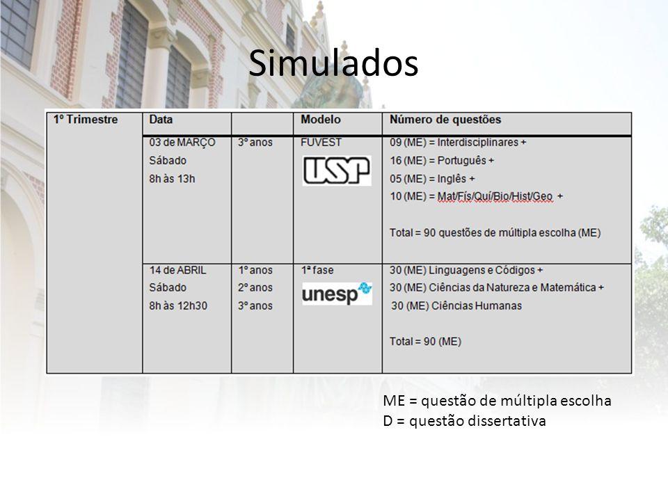 Simulados ME = questão de múltipla escolha D = questão dissertativa