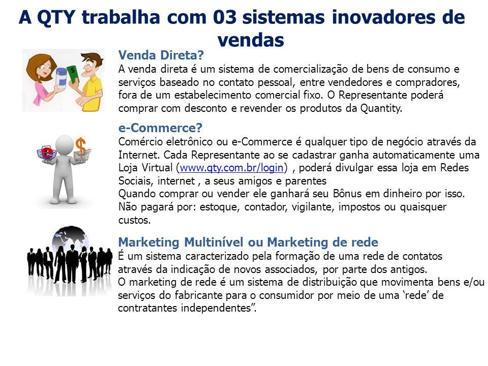 A QTY trabalha com 03 sistemas inovadores de vendas