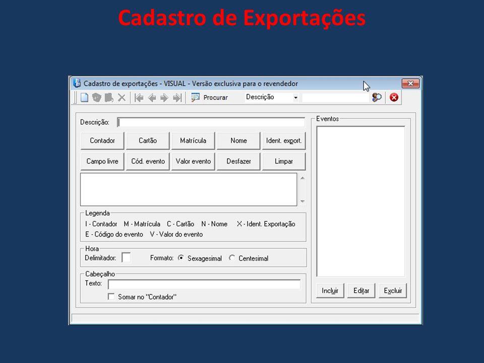 Cadastro de Exportações