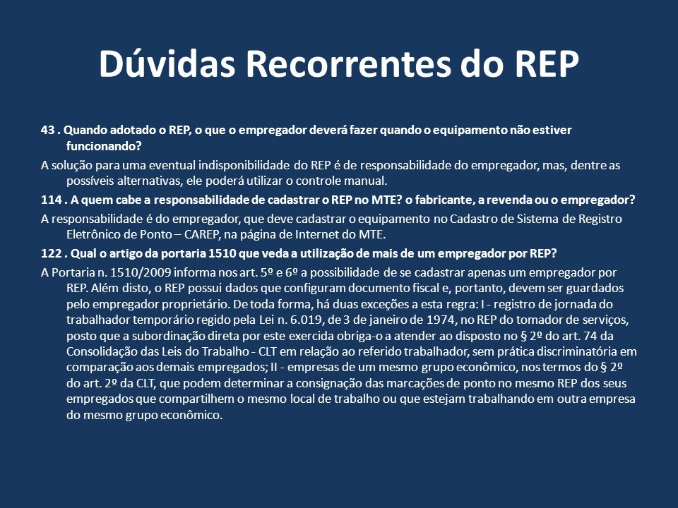Dúvidas Recorrentes do REP