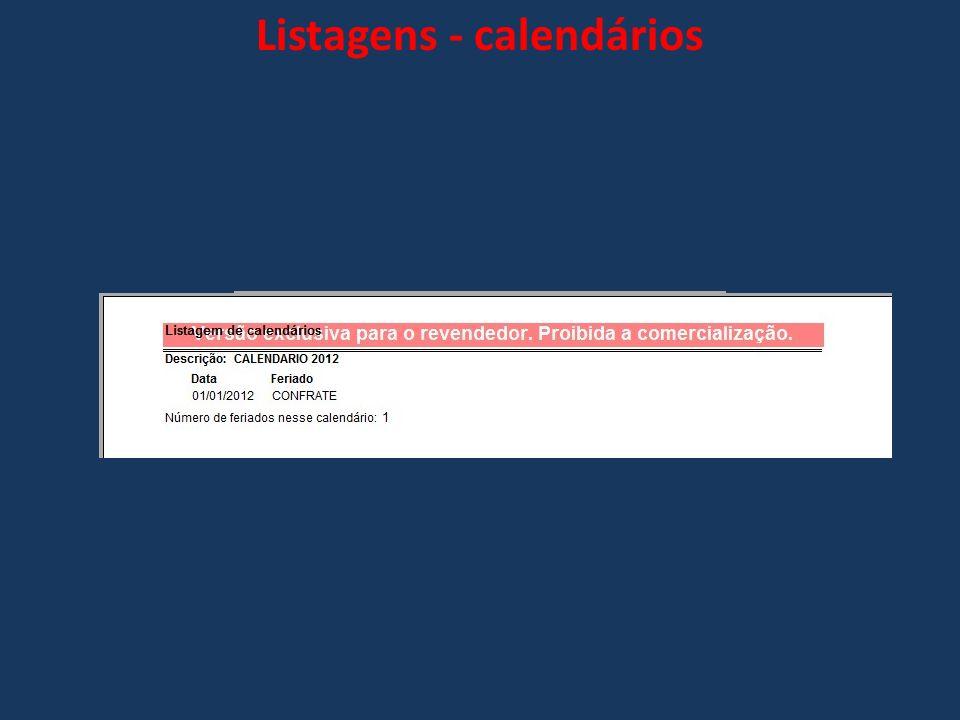 Listagens - calendários