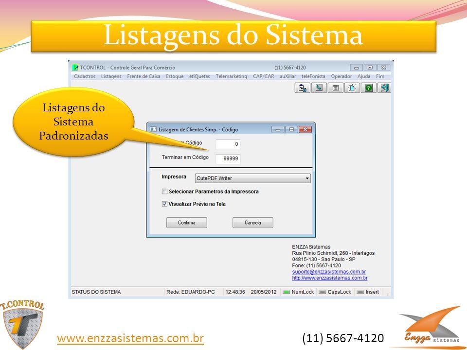 Listagens do Sistema Padronizadas