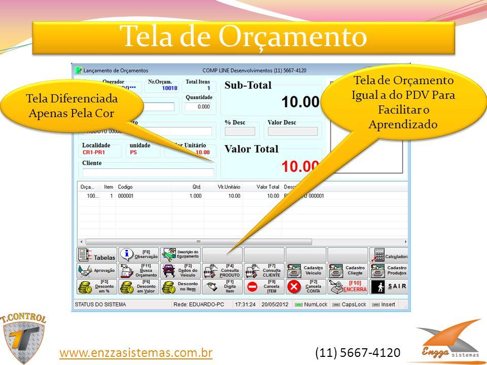 Tela de Orçamento www.enzzasistemas.com.br (11) 5667-4120