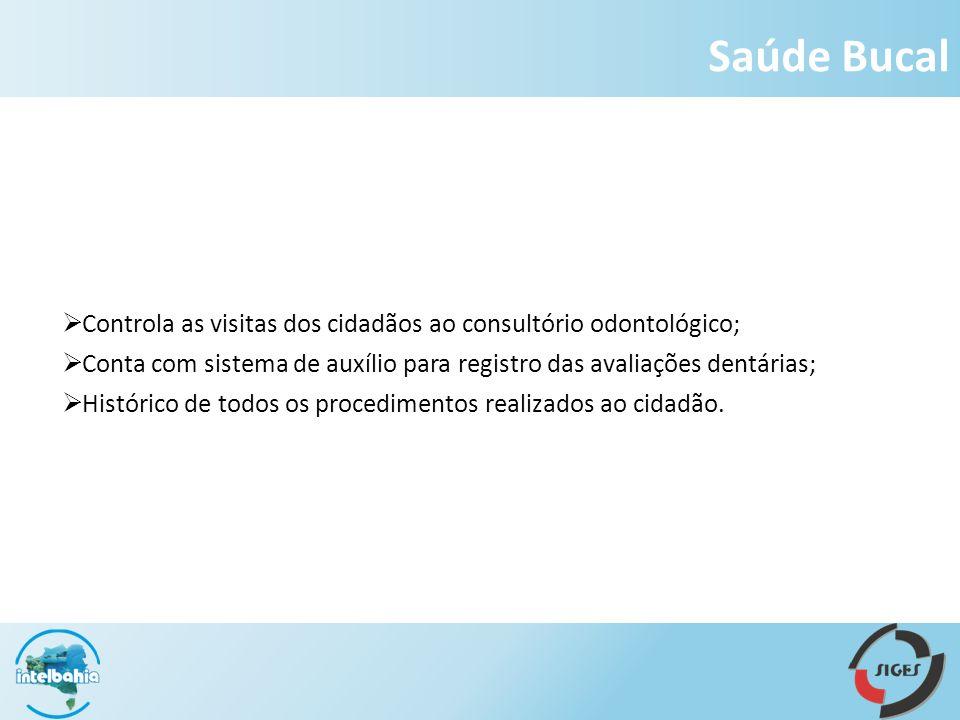 Saúde Bucal Controla as visitas dos cidadãos ao consultório odontológico; Conta com sistema de auxílio para registro das avaliações dentárias;