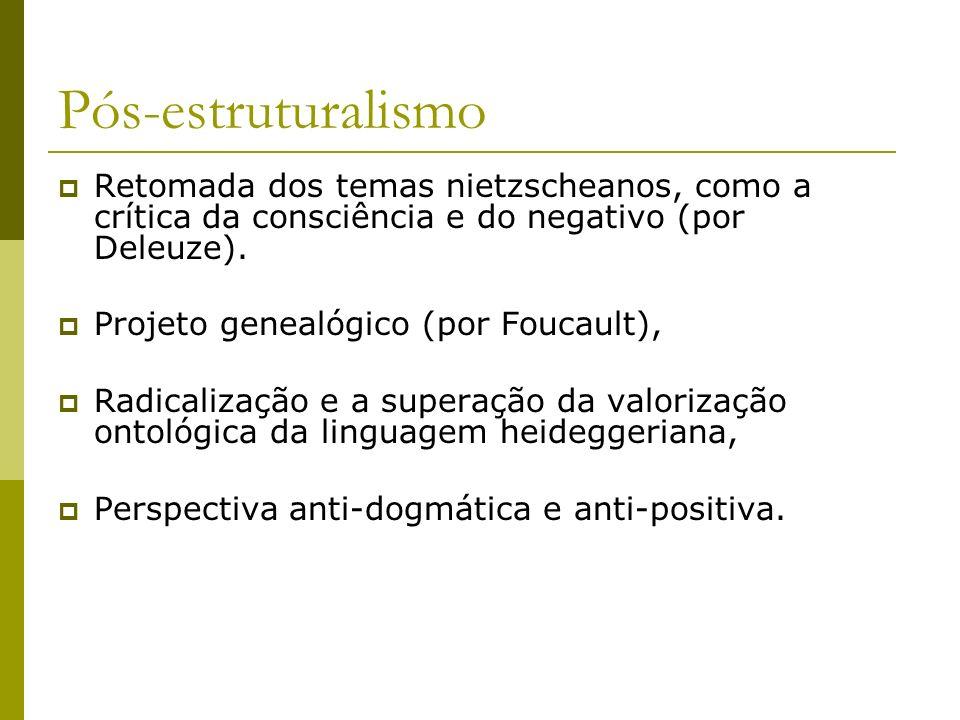 Pós-estruturalismo Retomada dos temas nietzscheanos, como a crítica da consciência e do negativo (por Deleuze).