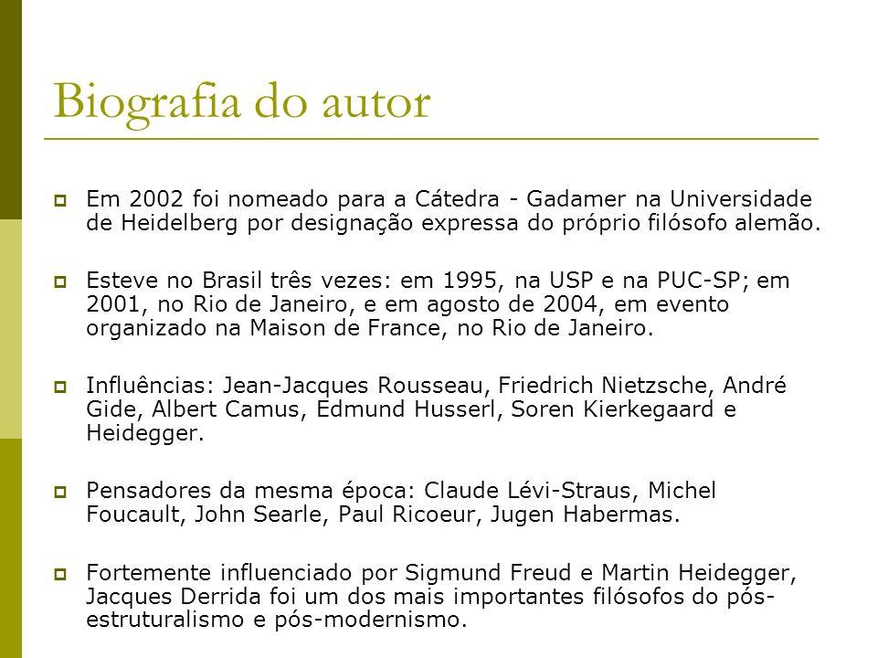 Biografia do autor Em 2002 foi nomeado para a Cátedra - Gadamer na Universidade de Heidelberg por designação expressa do próprio filósofo alemão.