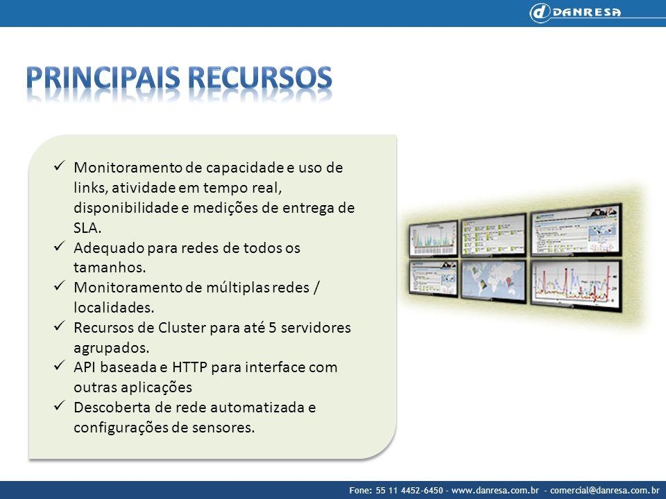 Principais recursos Monitoramento de capacidade e uso de links, atividade em tempo real, disponibilidade e medições de entrega de SLA.