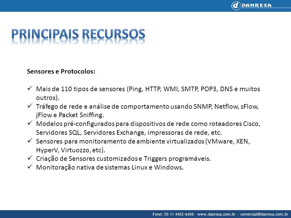 Principais recursos Sensores e Protocolos:
